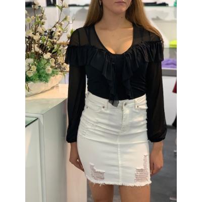 White ripped skirt.