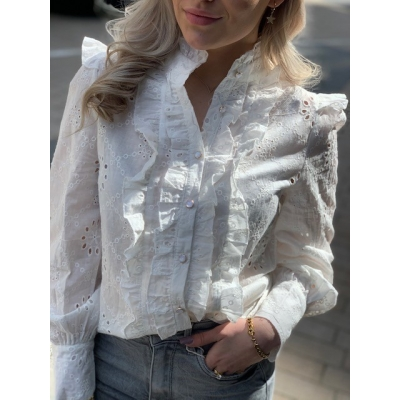 White blouse ruffle