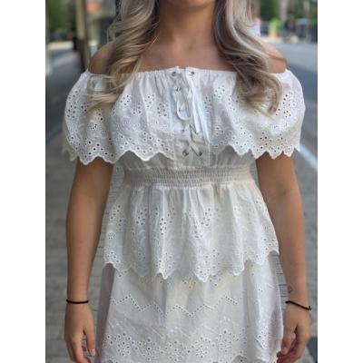 Off shoulder lace top.