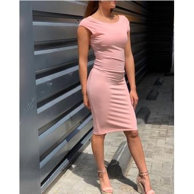 Pink long dress.